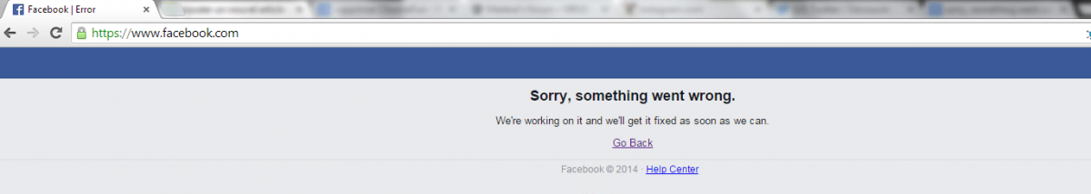 Sorry, something went wrong. We're working on it and we'll get it fixed as soon as we can. (erreur Facebook)